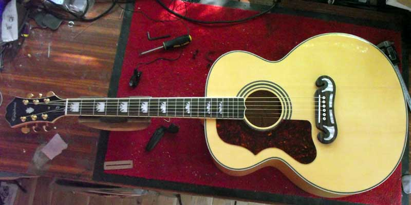 converting an epiphone ej 200 acoustic guitar to left hand. Black Bedroom Furniture Sets. Home Design Ideas