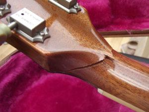 Construção inspirada Les Paul Custom, meu 1º projeto com braço colado (finalizado e com áudio) Nasty-Gibson-Les-Paul-headstock-break-300x225