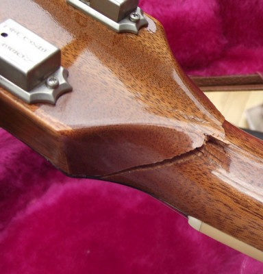 Nasty Gibson Les Paul headstock break