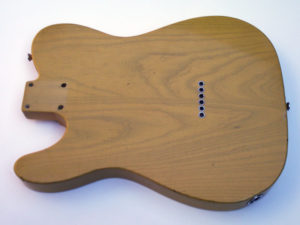 Back of the butterscotch Telecaster body