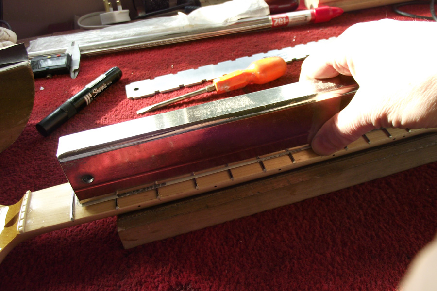 Dressing The Frets On The Maple Neck