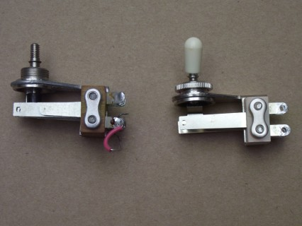 Switchcraft coil tap switch (left) and modern donor (right)